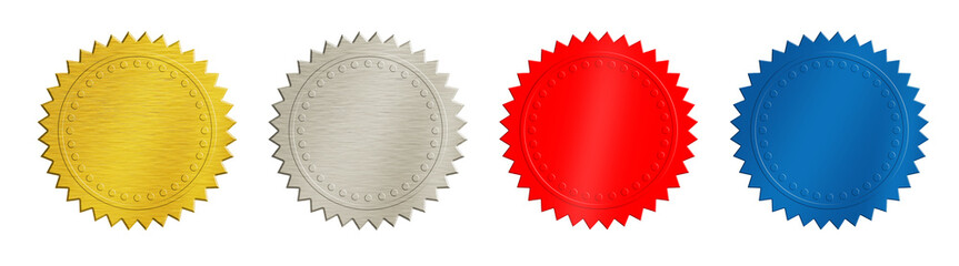 Gold, silver, red and blue coins or medals