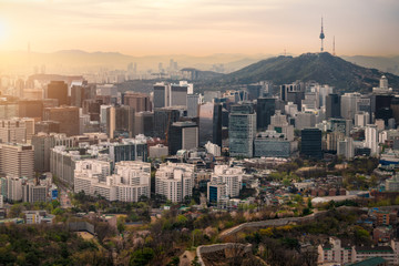 Stores photo Seoul Sunrise scene of Seoul downtown city skyline