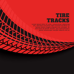 red background with tire track prints