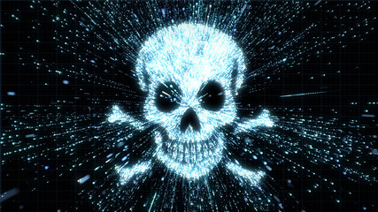 Digital piracy - skull in explosion of hacked data