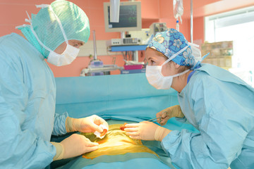 surgeons talking in operating room at hospital