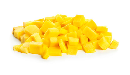 Pieces of fresh mango on white background