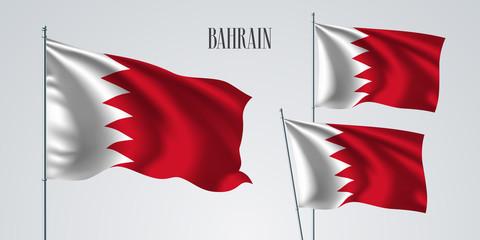 Bahrain waving flag set of vector illustration