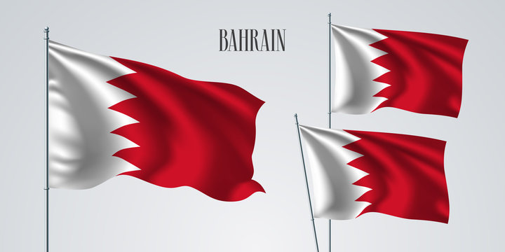 Bahrain waving flag set of vector illustration