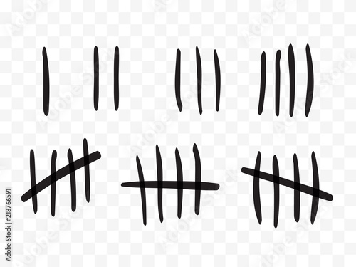 tally marks on a prison wall isolated counting signs vector stock