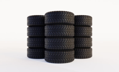 Three pillars of car tires isolated on white background. 3d rendering.