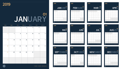 Vector of 2019 new year calendar set in clean minimal table simple style and navy blue color,Holiday event planner,Week Starts Sunday,A4 vertical size..