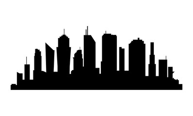 City Silhouette on white background. Business district with skyscrapers