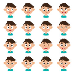 Cute boy face expression, cartoon vector set isolated on white