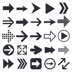 Black arrows. Collection of web icons