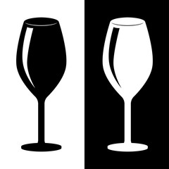 Glass of wine. Black and white silhouette drawing