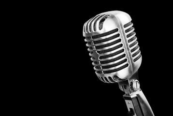 Retro style microphone on black