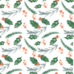 Christmas pattern/ Watercolor Christmas / Winter wallpape
