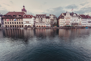 Luxury beautiful landscape of Vierwaldstättersee, Lake Lucerne in Lucerne, Switzerland