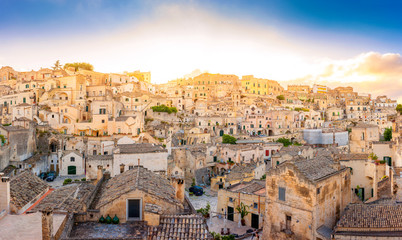 Beautiful sunset over the ancient city of Matera, Southern Italy. Europe