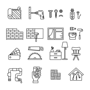 Home Improvement line icon set