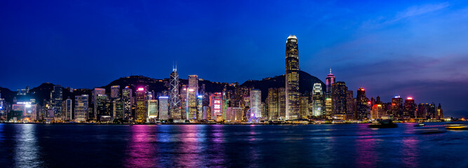 Wide panorama of Hong Kong Nigh scape
