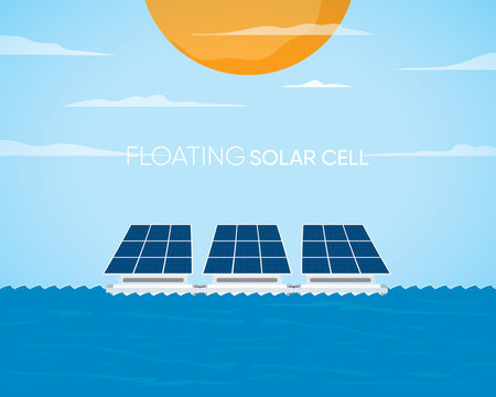 floating solar cell power plant with solar cell generate the electric