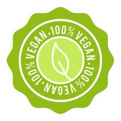 Wall Mural - 100% Vegan Badge. Vegan Button. Eps10 Vector Banner.