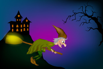 Vector illustration of halloween witch flying on broom. Cartoon Funny Witch