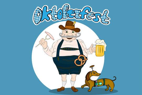 Cute cartoon Bavarian man  with beer, sausage and pretzel. Oktoberfest illustration.