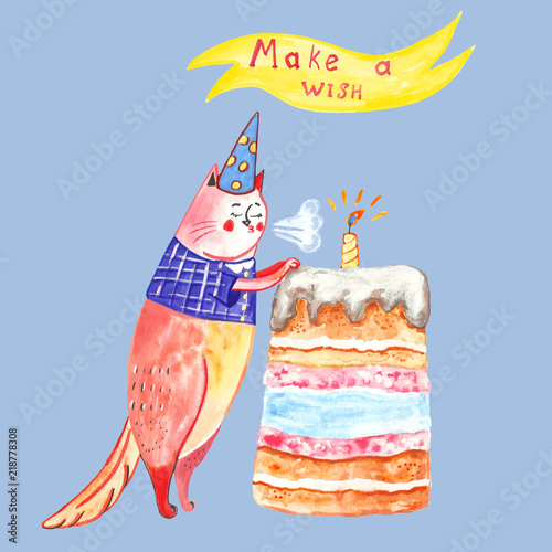 Image result for birthday cat blue