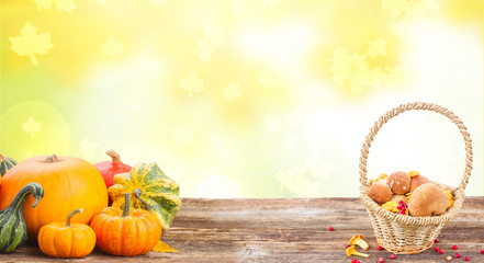 pile of orange pumpkins with basket full of mashrooms on wooden table over fall background banner