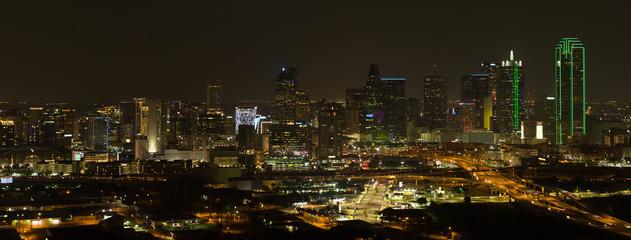 Aerial night panorama photo Dallas Texas Wall mural