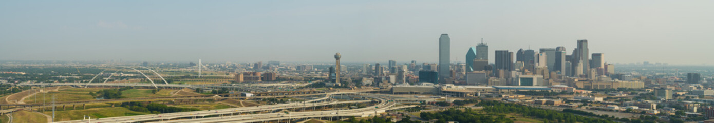 Amazing aerial panorama Dallas Texas cityscape