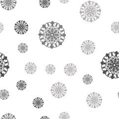 Light Gray vector seamless template with ice snowflakes.