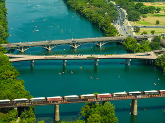 Aerial drone photo of Austin Texas Colorado River briges and train tracks