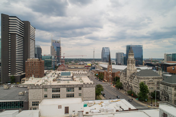 Aerial Downtown Nashville browdway historical architecture