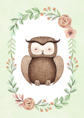 Watercolor illustration of a cute owl. Perfect for greeting cards