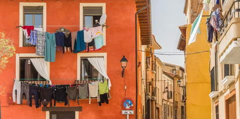 Panorama of colorful houses with drying laundry in Tudela, Spain