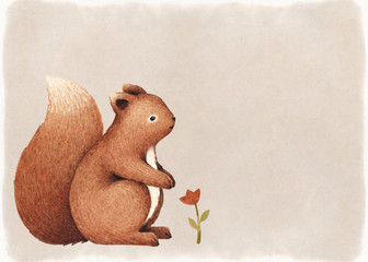 Watercolor illustration of a cute squirrel. Perfect for greeting cards