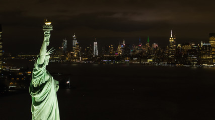 Night Statue of Liberty aerial photo