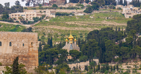 Old orthodox Church of Maria Magdalena on Mount of Olives