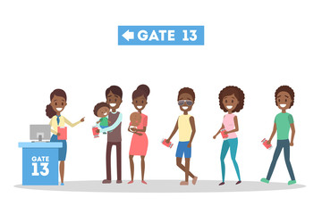 People standing in line at the airport gate