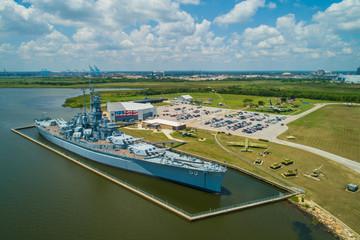 Aerial image of the USS Alabama at the Battleship Memorial Park