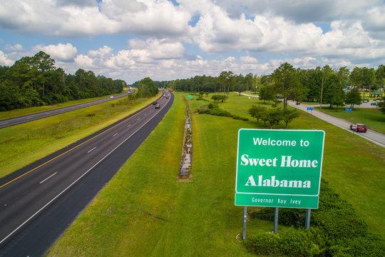 Aerial image Welcome sign Alabama