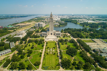 Aerial drone photo State Capitol Park Baton Rouge Louisiana