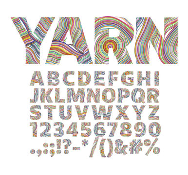 Creative font in the form of yarn threads. For decorative labels on packaging and logos