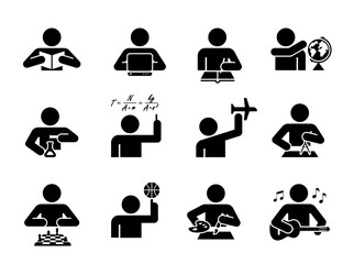 Collection of icons presenting education and different school subjects, science, art, history, geography, chemistry, maths, music, sports. Student in school attending classes. Pictogram icon set.