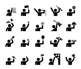 Set of pictograms that represent people with various professional occupation. People with various professions presented as pictograms. People avatar occupation icons.