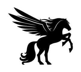 Sign of a black pegasus on a white background.