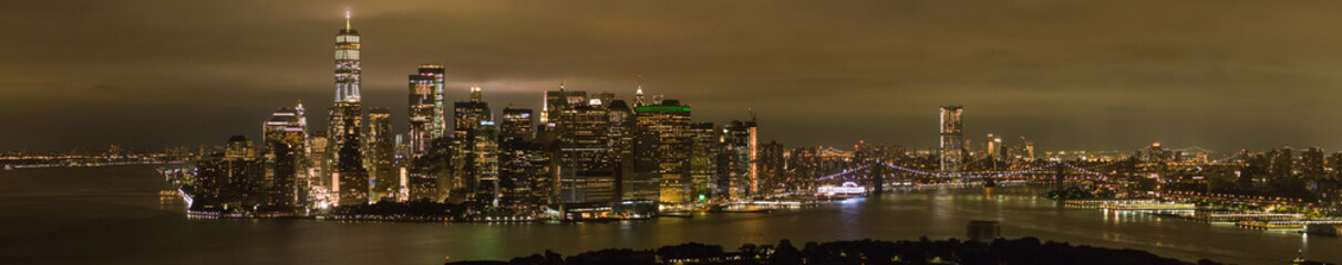Amazing night panorama New York City Manhattan at night