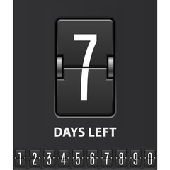 Seven days left, flip scoreboard - mechanical countdown timer