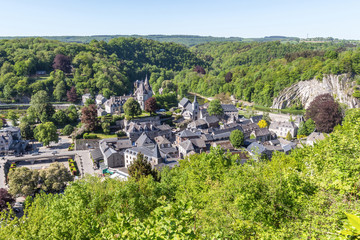 Wide view to Durbuy city from above