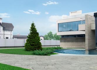 Luxury neighborhood architecture design ideas, 3D render