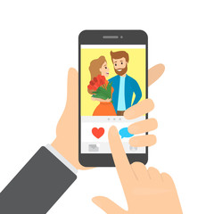 Hand holding smartphone and likes photo in the app